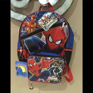 Boys new spiderman backpack with lunch pail
